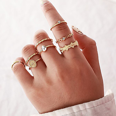 voordelige Dames Sieraden-Dames Ring Ring Set 8 stuks Goud Legering Onregelmatig Klassiek Vintage modieus Lahja Dagelijks Sieraden Klassiek Peer