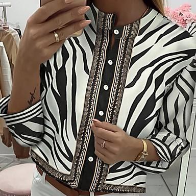 voordelige Nieuwe collectie-Dames Overhemd Kleurenblok Zwart