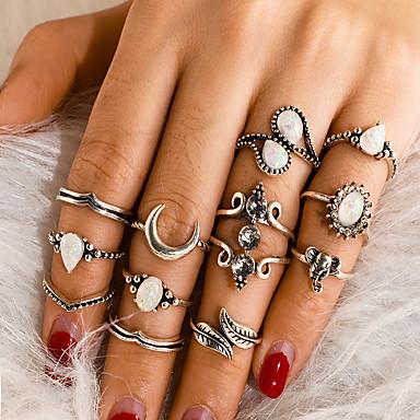 voordelige Dames Sieraden-Dames Ring Ring Set 12st Zilver Legering Onregelmatig Vintage modieus Etnisch Lahja Dagelijks Sieraden Retro Olifant Peer