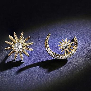 voordelige Dames Sieraden-Dames Mismatch oorbellen mismatched MOON Ster leuke Style Gesimuleerde diamant S925 Sterling Zilver oorbellen Sieraden Goud Voor Dagelijks 1 paar