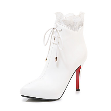 voordelige Dameslaarzen-Dames Laarzen Naaldhak Gepuntte Teen PU Kuitlaarzen minimalisme Lente & Herfst / Herfst winter Zwart / Wit / Rood / Feesten & Uitgaan