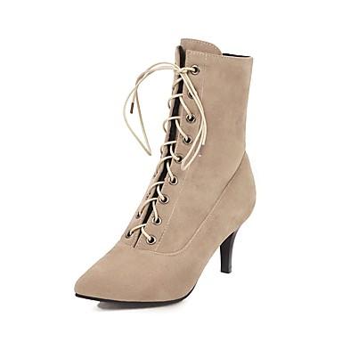 voordelige Dameslaarzen-Dames Laarzen Naaldhak Gepuntte Teen Synthetisch Korte laarsjes / Enkellaarsjes Informeel / minimalisme Winter Zwart / Bruin / Rood