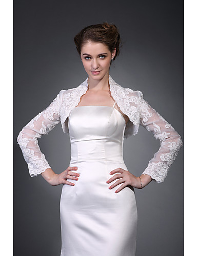 Half Sleeves Polyester Party / Evening Women's Wrap Wedding  Wraps With Embroidery Coats / Jackets