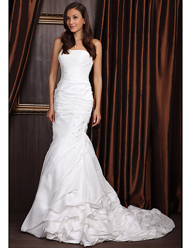 Mermaid trumpet strapless court train taffeta wedding for Taffeta mermaid wedding dress