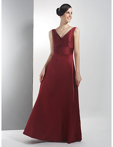 Corte en A Escote en Pico Hasta el Suelo Satén Vestido de Dama de Honor con En Cruz por LAN TING BRIDE®