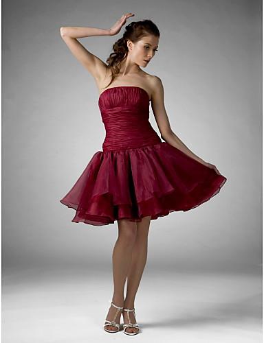 A-Linie Plesové šaty Princess Rozevláté Bez ramínek Ke kolenům Organza Koktejlový večírek Maturitní ples Dovolená Sladkých 16 Šaty s