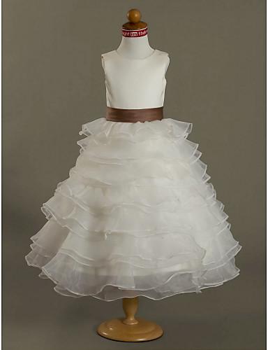 Ball Gown Tea Length Flower Girl Dress - Organza Satin Sleeveless Jewel Neck with Sash / Ribbon Ruffles by LAN TING BRIDE®