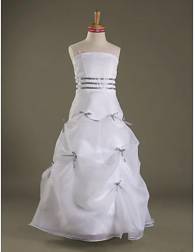 A-Line Spaghetti Straps Floor Length Organza Satin Junior Bridesmaid Dress with Bow(s) Pick Up Skirt Sash / Ribbon by LAN TING BRIDE®