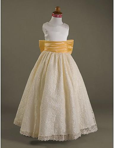 Γραμμή Α Μακρύ Φόρεμα για Κοριτσάκι Λουλουδιών - Δαντέλα / Σατέν Αμάνικο Scoop Neck με Φιόγκος(οι) / Που καλύπτει / Δαντέλα με LAN TING BRIDE® / Άνοιξη / Καλοκαίρι / Φθινόπωρο / Χειμώνας