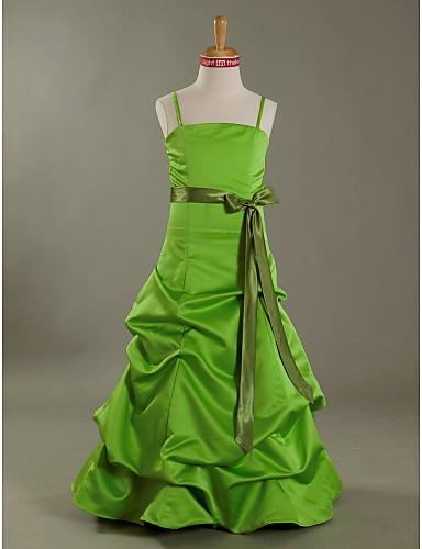 A-linje Prinsesse Spaghettistropper Gulvlang Satin Junior brudepigekjole med Sløjfe(r) Pick Up-kjole Bælte / bånd ved LAN TING BRIDE®