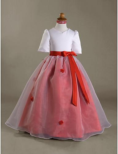 Rochie de bile lungime floare fată rochie - satin mâneci scurte v-gât de lan ting bride®