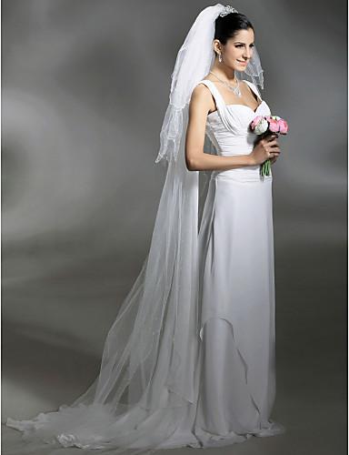 Τρι-επίπεδο Μύτη Μολυβιού / Μαργριταρένια Λεπτομέρεια Άκρης Πέπλα Γάμου Πολύ Μακριά Πέπλα Με 102,36 ίντσες(260εκ) Τούλι Γραμμή Α, Τουαλέτα, Πριγκίπισσα, Ίσια Γραμμή, Τρομπέτα / Γοργόνα / Κλασσικό
