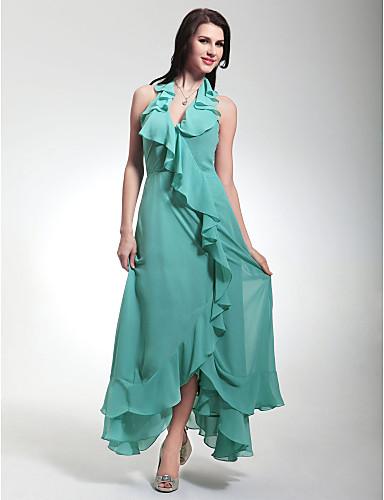 Sütun V Yaka Boyundan Bağlamalı Diz Altı Asimetrik Şifon Fırfırlı ile Resmi Akşam / Askeri Balo Elbise tarafından TS Couture®