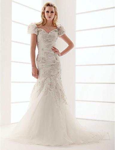 A sirena A V Strascico a terra Organza Raso Vestito da sposa con Perline Con applique Con fiocco Floreale di LAN TING BRIDE®