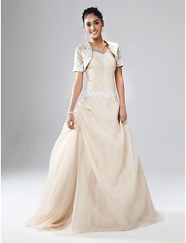 Haine Bal În V Lungime Podea Organza / Satin Bal / Seară Formală / Bal Militar Rochie cu Aplică / Drapat Părți de TS Couture®
