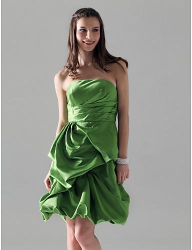Linha A Princesa Sem Alças Até os Joelhos Cetim Vestido de Madrinha com Saia com Pregas em Cascata Franzido de LAN TING BRIDE®