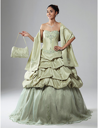 014649dc2 Corte en A Salón Princesa Sin Tirantes Ondulado Hasta el Suelo Organza  Tafetán Fiesta de baile