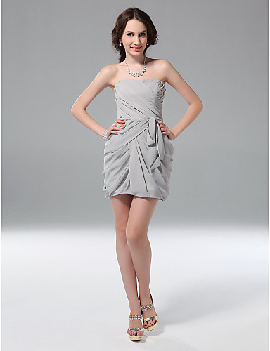 Sheath / Column Strapless Short / Mini Chiffon Holiday Dress with Ruching by TS Couture®