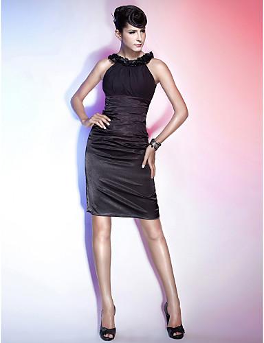 billige Feriekjoler-Tube / kolonne Scoop Neck Knelang Chiffon / Elastisk sateng Liten svart kjole Cocktailfest Kjole med Bølgemønster / Blomst / Bandasje av TS Couture®