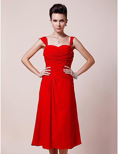 Γραμμή Α Καρδιά Λουριά Κάτω από το γόνατο Σιφόν Φόρεμα Μητέρας της Νύφης - Πιασίματα Πλαϊνό ντραπέ με LAN TING BRIDE®