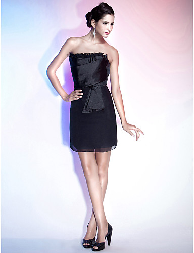 Sheath / Column Strapless Short / Mini Chiffon Satin Cocktail Party Homecoming Holiday Dress with Ruffles by TS Couture®