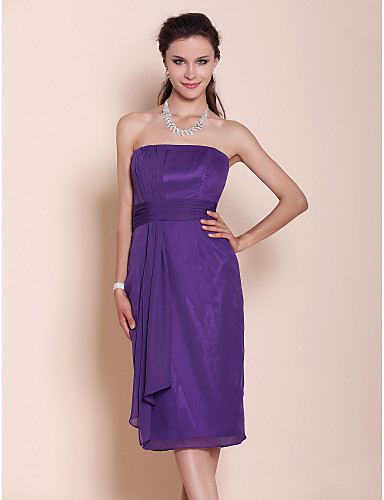 Sheath / Column Strapless Knee Length Chiffon Bridesmaid Dress with Draping Ruched by LAN TING BRIDE®