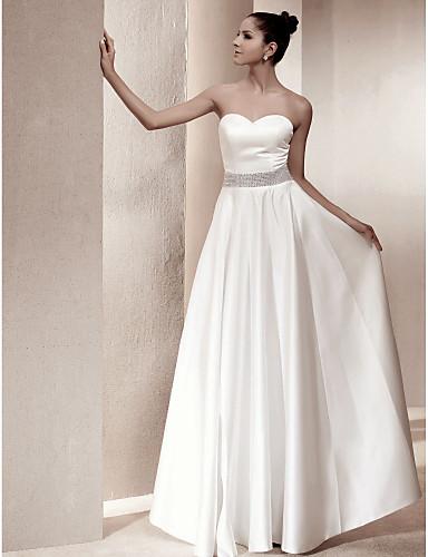 A-kroj Srcoliki izrez Do poda Saten Izrađene su mjere za vjenčanja s Kristalni detalji / Traka / vrpca po LAN TING BRIDE®