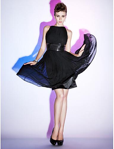 Leger & Aufgebauscht Bateau Hals Knie-Länge Chiffon Stretch - Satin Cocktailparty Kleid mit Paillette Drapiert durch TS Couture®