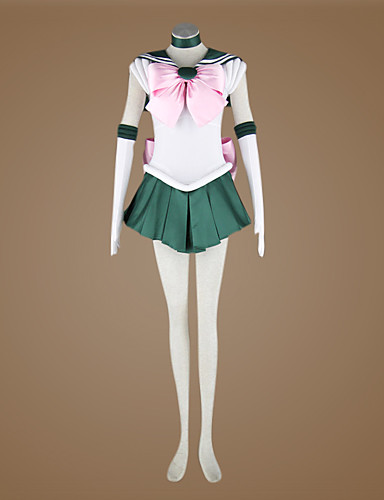 povoljno Anime kostimi-Inspirirana Sailor Moon Sailor Jupiter Anime Cosplay nošnje Japanski Cosplay Suits Kolaž Bez rukávů Kravata / Haljina / Rukavice Za Žene / Saten
