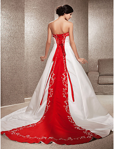 cheap Wedding Dresses-Ball Gown Strapless Cathedral Train Satin Made-To-Measure Wedding Dresses with Appliques / Embroidery by LAN TING BRIDE® / Wedding Dress in Color