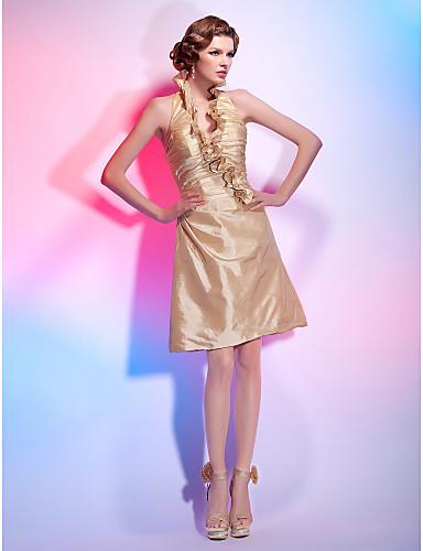 A-Şekilli Prenses V Yaka Boyundan Bağlamalı Diz Boyu Tafta Kırma Dantel Fırfırlı Yan Drape ile Kokteyl Partisi / Tatil Elbise tarafından
