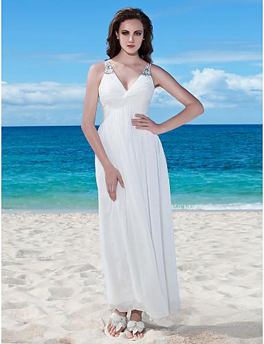 Γραμμή Α Λαιμόκοψη V Μακρύ Σιφόν Φορέματα γάμου φτιαγμένα στο μέτρο με Χάντρες / Πιασίματα / Κουμπί με LAN TING BRIDE® / Μικρά Άσπρα Φορέματα