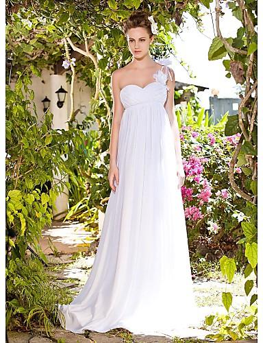 3450c9b5271 Chiffon Empire One Shoulder Floor-length Flower Wedding Dress on Strap  inspired by Tia Mowry 67034 2019 –  199.99