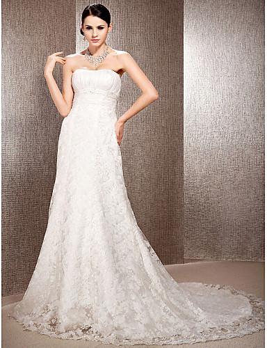 A-Line Princess Sweetheart Court Train Lace Wedding Dress with Beading Draping Sash / Ribbon Ruched by LAN TING BRIDE®
