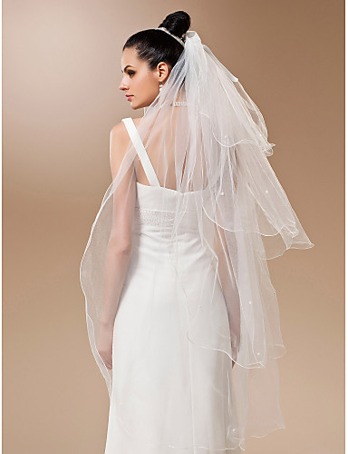Four-tier Tulle With Pearls Waltz Veil (More Colors)