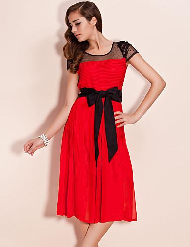 TS Mesh Shoulders Self-belted Midi Dress (More Colors)