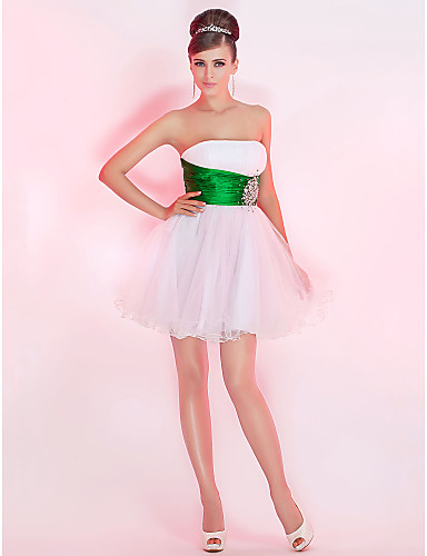 A-Line Ball Gown Princess Strapless Short / Mini Tulle Cocktail Party Homecoming Prom Sweet 16 Dress with Beading Crystal Detailing Ruched