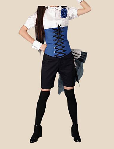 billige Anime Kostumer-Inspireret af Sort Butler Ciel Phantomhive Anime Cosplay Kostumer Cosplay Kostumer Patchwork Kortærmet Trøje Armbånd Bælte Sløjfe Hat
