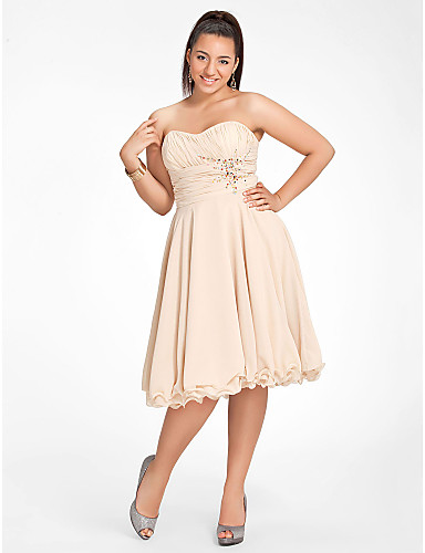 0c05d098a61b Plus Size A-Line Sweetheart Neckline Knee Length Chiffon Cocktail Party  Dress with Beading / Ruched by TS Couture®