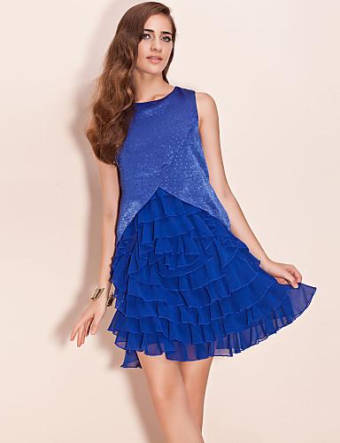 ts flimrende stof lagdelt chiffon flæse kjole