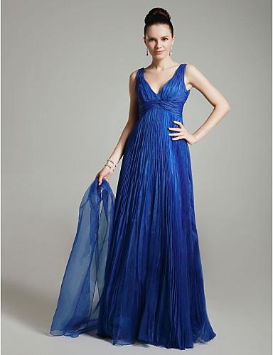 A-kroj / Princeza V izrez Do poda Organza Otvorena leđa / Celebrity Style Prom / Formalna večer Haljina s Križano / Falte po TS Couture®