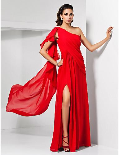 Sütun Tek Omuz Yere Kadar Şifon Ayrık Ön / Fırfırlı ile Resmi Akşam / Askeri Balo Elbise tarafından TS Couture®