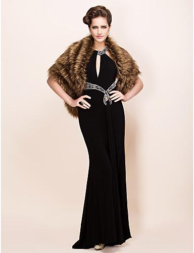 elegante, dai capelli lunghi finta pelliccia di volpe partito / sera scialle / involucro