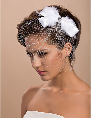 Jedna vrstva Oříznutý okraj Závoje Svatební kloboučky Birdcage Veils S Peří Tyl