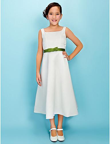 A-Line Princess Square Neck Tea Length Satin Junior Bridesmaid Dress with Bow(s) Sash / Ribbon by LAN TING BRIDE®