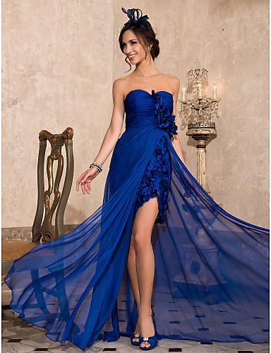 Kroj uz tijelo Bez naramenica Asimetričan kroj Šifon Formalna večer Haljina s Čipka Prednji izrez po TS Couture®
