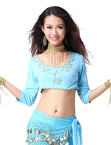 Dancewear Crystal Cotton With Appliques Belly Dance Top For Ladies More Colors