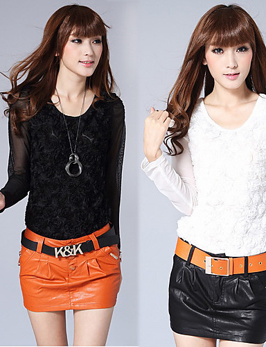 Women's All Seasons Blouse,Solid Long Sleeve White / Black Translucent