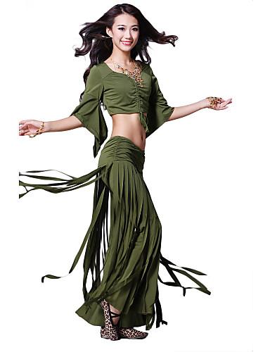 dancewear kristall bomull med tofsar magdans praktiken topp och botten för damer fler färger