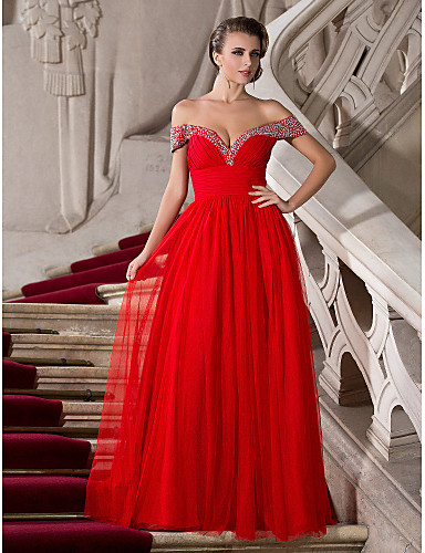 cheap Prom Dresses-A-Line Off Shoulder Floor Length Chiffon / Tulle Prom / Formal Evening Dress with Beading / Ruched by TS Couture®